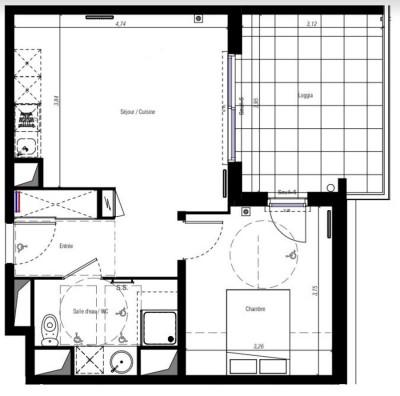Image plan 1er appartement fabregues