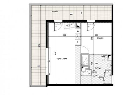 Appartement 2 Pièces 44m² (T2) Castelnau-le-lez (Couronne Est)